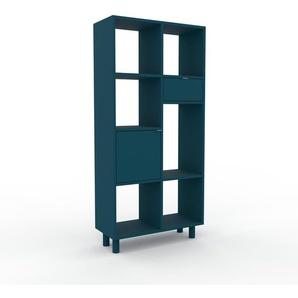 Schallplattenregal Blau - Modernes Regal für Schallplatten: Schubladen in Blau & Türen in Blau - 79 x 168 x 35 cm, Selbst designen
