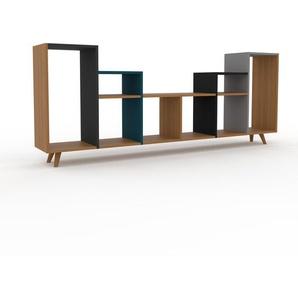 Schallplattenregal Eiche, Holz - Modernes Regal für Schallplatten: Hochwertige Qualität, einzigartiges Design - 233 x 91 x 35 cm, Selbst designen