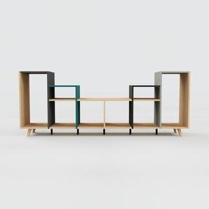 Schallplattenregal Eiche, Holz - Modernes Regal für Schallplatten: Hochwertige Qualität, einzigartiges Design - 233 x 91 x 47 cm, Selbst designen
