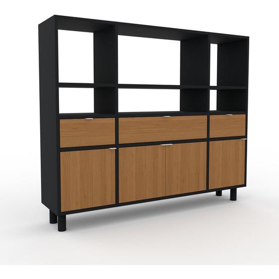 Schallplattenregal Eiche - Modernes Regal für Schallplatten: Schubladen in Eiche & Türen in Eiche - 154 x 130 x 35 cm, Selbst designen