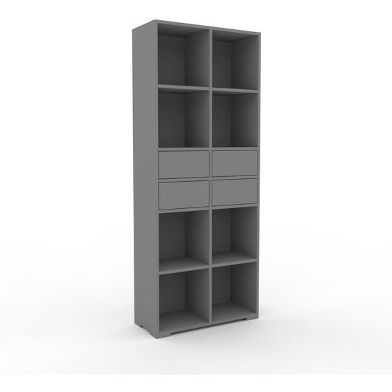 Schallplattenregal Grau - Modernes Regal für Schallplatten: Schubladen in Grau - 79 x 196 x 35 cm, Selbst designen
