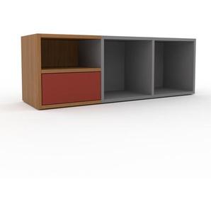 Schallplattenregal Grau - Modernes Regal für Schallplatten: Schubladen in Rot - 118 x 41 x 35 cm, Selbst designen