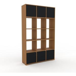 Schallplattenregal Eiche - Modernes Regal für Schallplatten: Türen in Schwarz - 118 x 196 x 35 cm, Selbst designen
