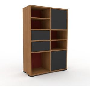 Schallplattenregal Eiche - Modernes Regal für Schallplatten: Schubladen in Anthrazit & Türen in Anthrazit - 79 x 120 x 35 cm, Selbst designen