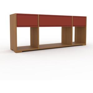 Schallplattenregal Eiche - Modernes Regal für Schallplatten: Schubladen in Rot - 154 x 62 x 35 cm, Selbst designen