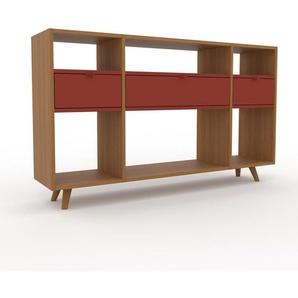 Schallplattenregal Eiche - Modernes Regal für Schallplatten: Schubladen in Rot - 154 x 91 x 35 cm, Selbst designen