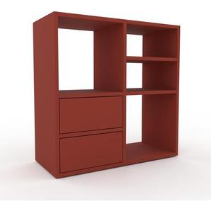 Schallplattenregal Rot - Modernes Regal für Schallplatten: Schubladen in Rot - 79 x 80 x 35 cm, Selbst designen