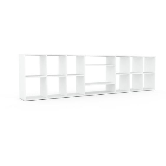 Schallplattenregal Weiß - Modernes Regal für Schallplatten: Hochwertige Qualität, einzigartiges Design - 308 x 80 x 35 cm, Selbst designen