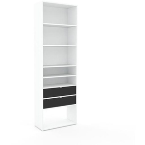 Schallplattenregal Weiß - Modernes Regal für Schallplatten: Schubladen in Anthrazit - 77 x 233 x 35 cm, Selbst designen