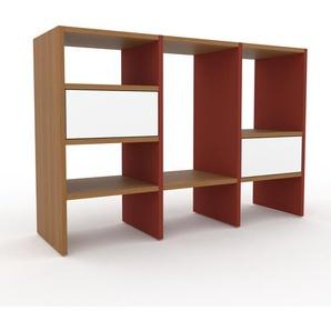 Schallplattenregal Rot - Modernes Regal für Schallplatten: Schubladen in Weiß - 118 x 80 x 35 cm, Selbst designen
