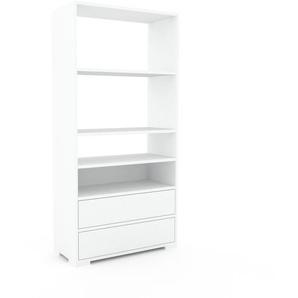 Schallplattenregal Weiß - Modernes Regal für Schallplatten: Schubladen in Weiß - 77 x 158 x 35 cm, Selbst designen