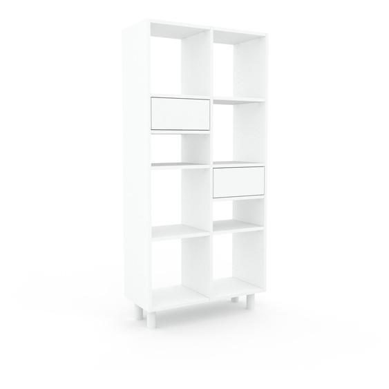 Schallplattenregal Weiß - Modernes Regal für Schallplatten: Schubladen in Weiß - 79 x 168 x 35 cm, Selbst designen