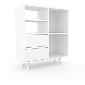 Schallplattenregal Weiß - Modernes Regal für Schallplatten: Schubladen in Weiß - 79 x 91 x 35 cm, Selbst designen
