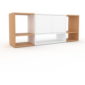 Schallplattenregal Buche - Modernes Regal für Schallplatten: Türen in Weiß - 154 x 61 x 35 cm, Selbst designen