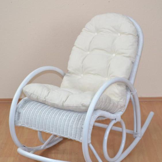 Schaukel-Stuhl, 60x100x116 cm (BxHxT), Landhaus-Stil, Home affaire, weiß, Material Rattan