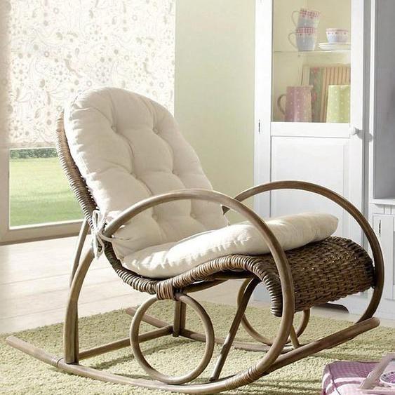 Schaukel-Stuhl, 60x100x116 cm (BxHxT), Landhaus-Stil, Home affaire, grau, Material Rattan