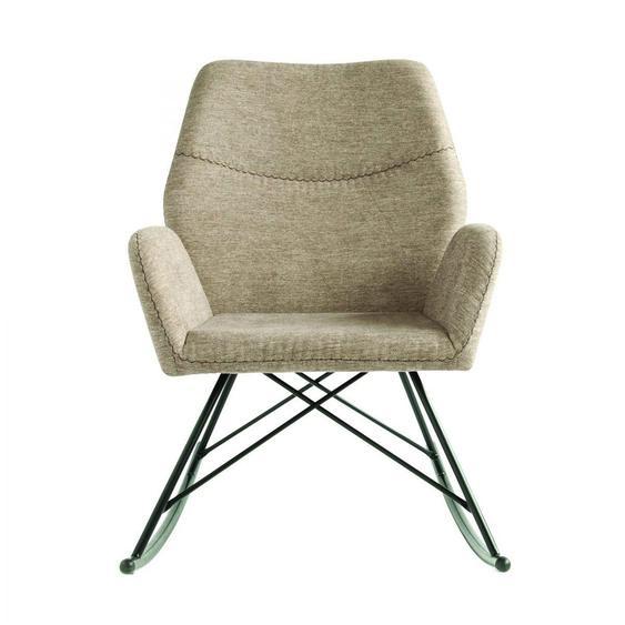 Schaukelstuhl aus Polyester in Grau und Metall 66 x 91 x 92 cm