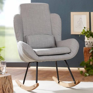 Schaukelstuhl CAPRI Grau Design Relaxsessel 75 x 110 x 88,5 cm | Sessel Stoff / Holz | Schwingsessel mit Gestell | Polster Relaxstuhl Schaukelsessel | Moderner Schwingstuhl | Hochlehner