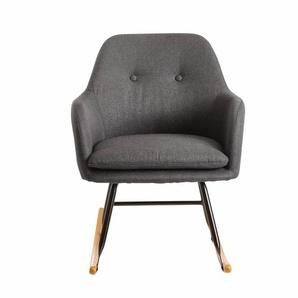 Schaukelstuhl Dunkelgrau 71x76x70cm Design Relaxsessel Malmo-Stoff / Holz | Schwingsessel mit Gestell | Polster Relaxstuhl Schaukelsessel | Moderner Schwingstuhl Sessel