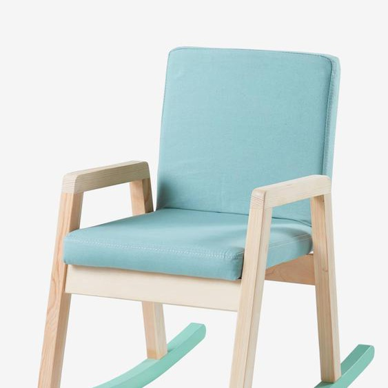 Schaukelstuhl für Kinderzimmer, Holz grün/natur