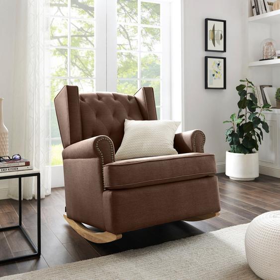 Schaukelstuhl »Genf«, 83x98x97.5 cm (BxHxT), FSC®-zertifiziert, Home affaire, braun, Material Massivholz, Holzwerkstoff