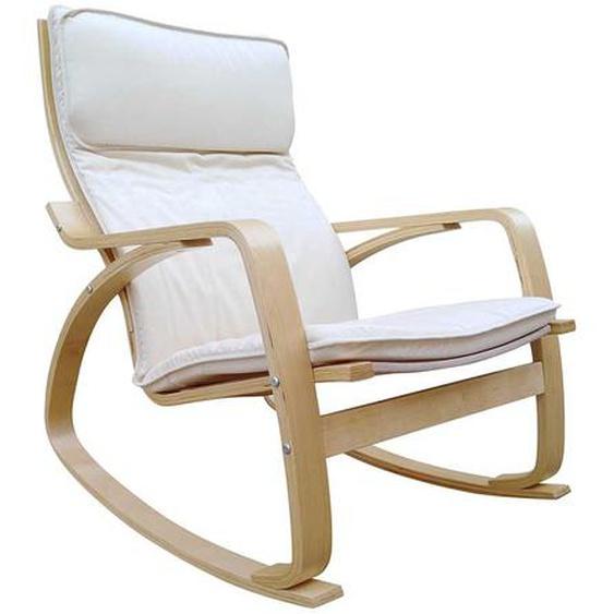 Schaukelstuhl in Beige Webstoff Skandi Design