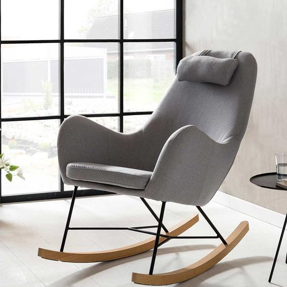 Schaukelstuhl in Grau Webstoff Skandi Design