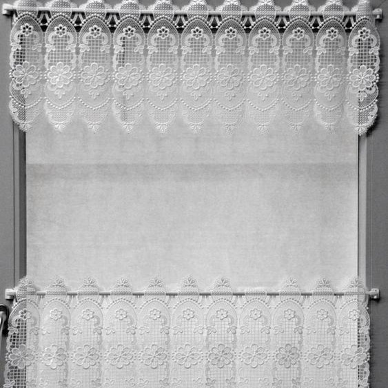 Scheibengardine »Blumenpanneau«, Stickereien Plauen, Stangendurchzug (1 Stück), mit echter Plauener Spitze Stickerei