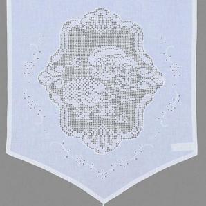 Scheibengardine »Igel«, HOSSNER - ART OF HOME DECO, Stangendurchzug (1 Stück), handgehäkelte Spitze, weiß, Baumwolle