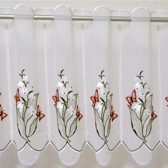 Scheibengardine »Maiglöckchen«, Stickereien Plauen, Durchzuglöcher (1 Stück), veredelt mit echter Plauener Spitze Stickerei