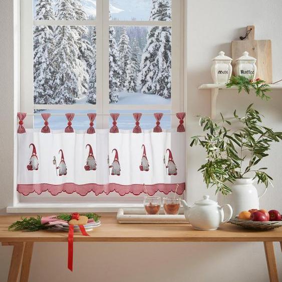 Scheibengardine »WICHTEL«, my home, Schlaufen (1 Stück), mit Schlaufenaufhängung, für die Küche