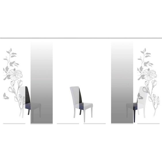 Schiebegardine, DENVER, HOME WOHNIDEEN, Klettband 6 Stück H/B: 245/60 cm, blickdicht, grau Gardinen nach Aufhängung Vorhänge Gardine