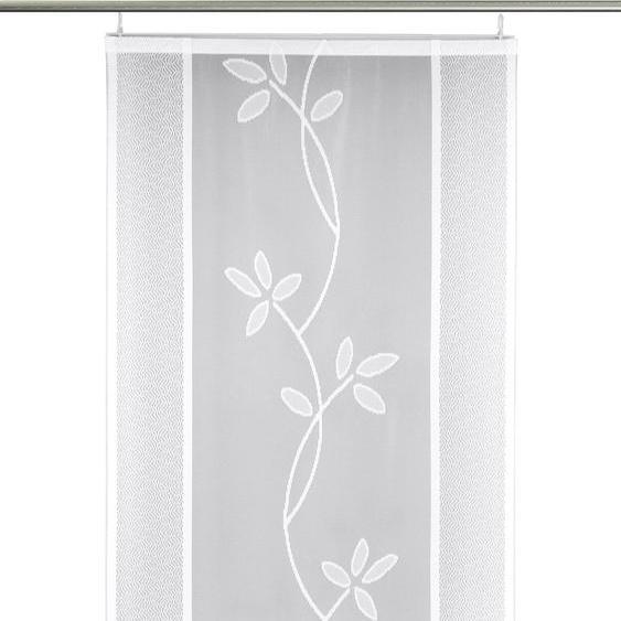 Schiebegardine, Fiore, VHG, Paneelwagen 1 Stück 2, H/B: 210/60 cm, transparent, weiß Klettband Gardinen nach Aufhängung Vorhänge Gardine