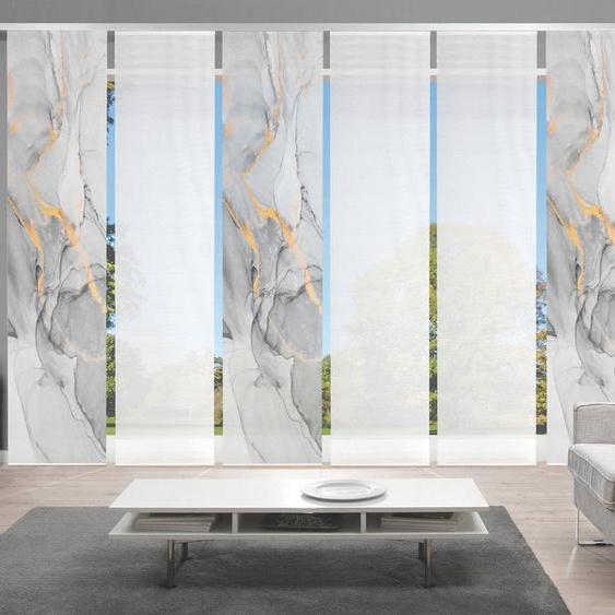 Schiebegardine »MARMOSA 6er SET«, Vision, Paneelwagen (6 Stück), Bambus-Optik, Digital bedruckt