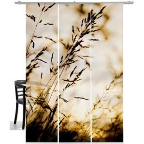 Schiebegardine »Windrausch Sepia«, emotion textiles, Klettband (3 Stück), mit Befestigungszubehör