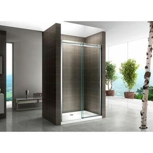 Schiebetür für Nische Duschabtrennung Dusche Duschkabine 8mm Klarglas 150x200cm Links und Rechts Montierbar - I-FLAIR