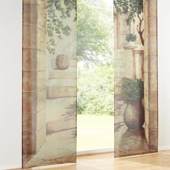 Schiebevorhang mit mediterranem Dessin 1, ca. 145/60 cm, Klettband bunt Esszimmergardinen Gardinen nach Räumen Vorhänge Schiebegardinen