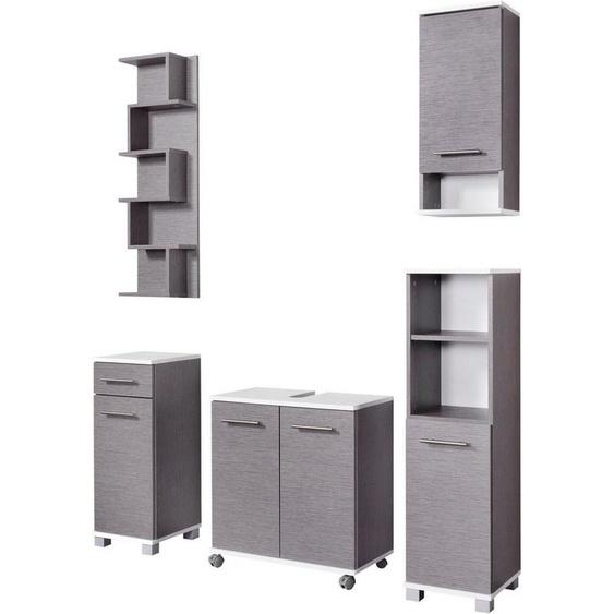 Schildmeyer Badmöbel-Set »Rhodos«, (Set, 5-tlg), mit Metallgriffen, verstellbare Einlegeböden, z.T. wechselbare Türanschläge