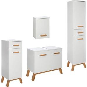 Schildmeyer Badmöbel-Set »Venlo«, 4er Set, weiß, Material Metall / Massivholz