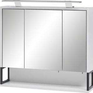 Schildmeyer Spiegelschrank »Limone« Breite 70 cm, 3-türig, LED-Beleuchtung, Schalter-/Steckdosenbox, Regalfach, Glaseinlegeböden, Made in Germany