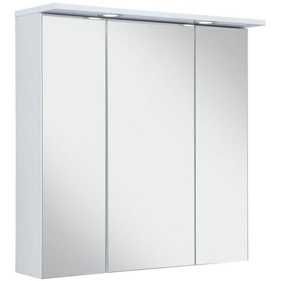Schildmeyer Spiegelschrank »SPS 700.1 Spot« Breite 70 cm, 3-türig, 2 LED-Einbaustrahler, Schalter-/Steckdosenbox, Glaseinlegeböden, Made in Germany