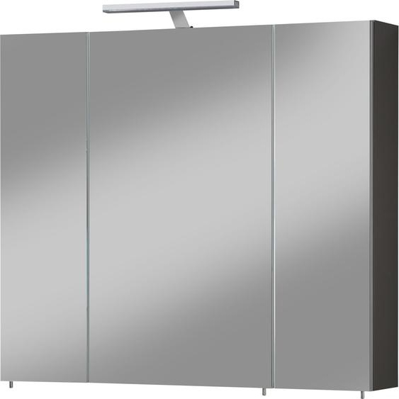 Schildmeyer Spiegelschrank »Torino« Breite 80 cm, 3-türig, LED-Beleuchtung, Schalter-/Steckdosenbox, Glaseinlegeböden, Soft-Close, Made in Germany