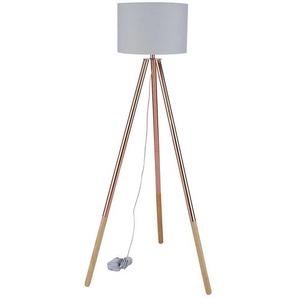 Schirm Stehlampe in hell Grau Kupferfarben
