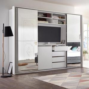 Schlafkontor Schwebetürenschrank, mit TV-Fach und Spiegel TOPSELLER B/H/T: 270 cm x 226 62 cm, 4 weiß Schwebetürenschränke Kleiderschränke Schwebetürenschrank