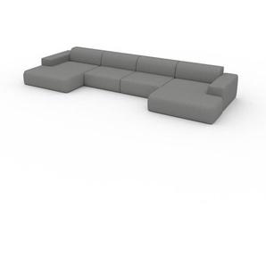 Sofa Granitweiß - Moderne Designer-Couch: Hochwertige Qualität, einzigartiges Design - 472 x 72 x 168 cm, Komplett anpassbar