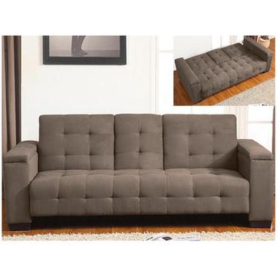 Schlafsofa Klappsofa 3-Sitzer DEVON - Microfaser - Braun