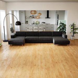 Schlafsofa Steingrau - Elegantes, gemütliches Bettsofa: Hochwertige Qualität, einzigartiges Design - 408 x 75 x 162 cm, konfigurierbar
