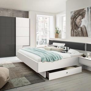 Schlafzimmer 2-tlg. in weiß mit Abs. in graphit, bestehend aus Schwebetürenschrank B: 270 cm und Bett 180x200 cm inkl. Nachtschränke