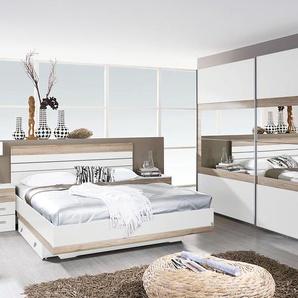 Schlafzimmer 3-tlg. in alpinweiß u. Eiche San Remo hell-NB, Schwebetürenschrank B: 271 cm, Bett B: 180x200, cm und 2 Nachtschränke B: 50 cm