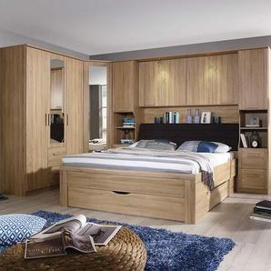 Schlafzimmer 4-tlg. Eiche Sonoma NB, Bettbrücke  B: 281 cm, Bett 180 x 200 cm, Eckschrank B: 91 cm, Drehtürenschrank B: 136 cm